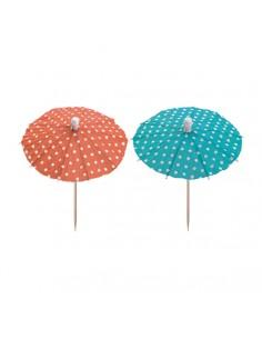 Palillos sombrillas decorativas de colores 10cm Dots