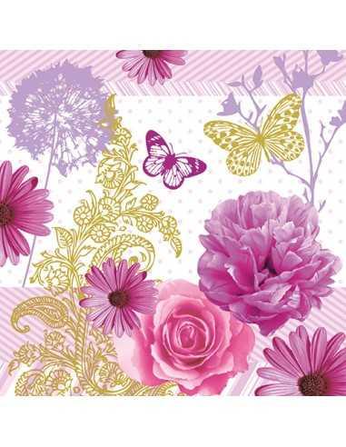 "20 Servilletas Decoradas Flores Rosa 33 x 33 cm ""Charlene"""