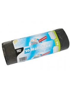20 Bolsas de Basura Plastico Con Cierre Fácil 75x 65cm Negro