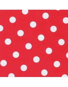 20 Servilletas Rojas Con Impresión Lunares Blanco 40 x 40cm