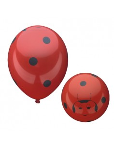Globos Rojos Decorados Mariquita Happy Beetles 29cm