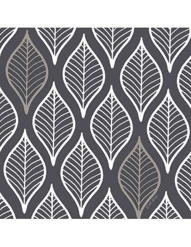 Servilletas de papel decoradas gris oscuro 33 x 33 cm Leafy