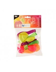 10 Globos de Colores Surtidos Neón de Ø 25 cm