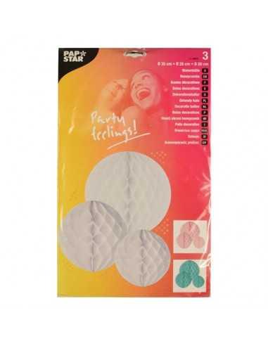 """3 Bolas Decorativas Colores Surtidos """"Pastel"""" diferentes medidas"""