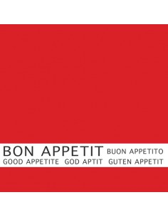"30 Servilletas Color Rojo Impresa 33x33 cm ""Bon Appetit"""