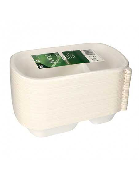 Bandejas menú caña azúcar blanco 2 Comp. compostables 750ml Pure