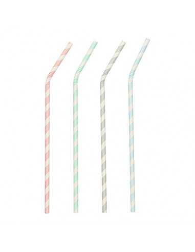 100 Cañitas Flexibles de Papel Pure Surtido Stripes Ø 6mm x20cm