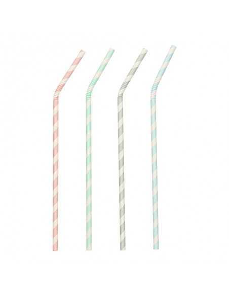 Cañitas de papel flexibles surtido rayas Ø 6mm x 20cm Pure