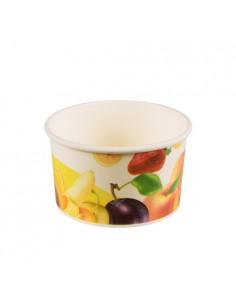 Tarrinas para helado cartón decorado motivo frutas 150ml