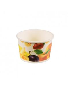 Tarrinas para helado cartón decorado motivo frutas 100ml