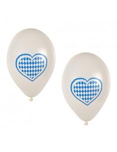 20 Globos Decorados Corazón Baviera Azul Ø 25 cm