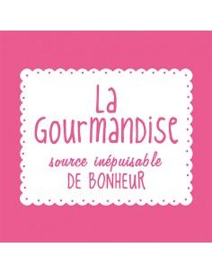 Servilletas papel rosa fucsia impresas texto La Gourmandise 33 x 33 cm