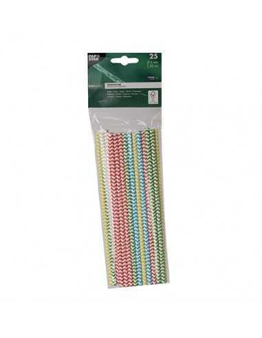 Cañitas de papel colores surtidos Ø 6mm x 20 cm Zig-Zag
