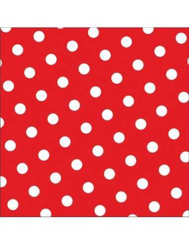 Servilletas de papel decoradas lunares rojo 33 x 33 cm