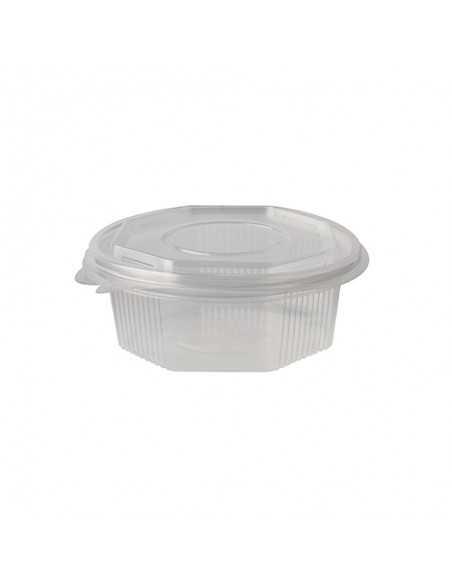 Recipientes plástico con tapa bisagra transparentes octagonal 375 ml