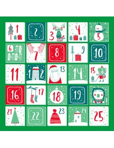 20 Servilletas Navideñas 33 x 33 cm Verde Adviento