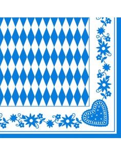 Servilletas de papel ocktoberfest decoradas Baviera Azul 40 x 40cm