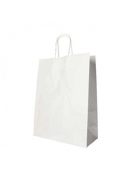 25 Bolsas de Papel Con Asa Retorcida Blancas 35 x 26 x 12cm