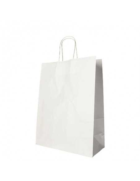 Bolsas de papel blanco con asas retorcida 35 x 26 x 12 cm