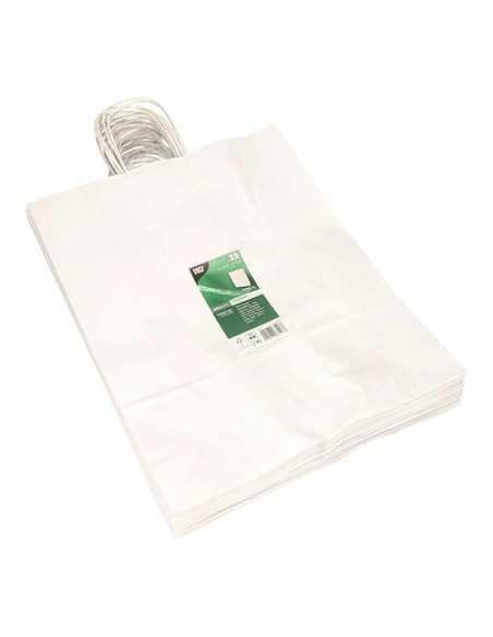 Bolsas de papel blanco con asa retorcida comercio 40 x 32 x 12cm