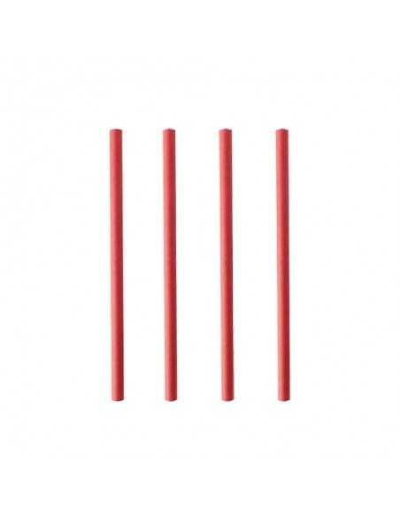 250 Cañitas de Papel Para Cóctel Rojas Ø 7mm x 15cm