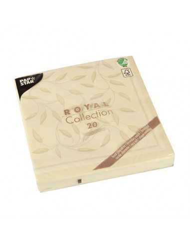 Servilletas de papel decoradas color champan Royal Collection 40 x 40 cm New Mediterran