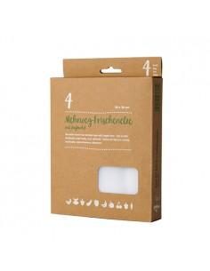 4 Bolsas de Tela Reutilizables Color Blanco 36 x 30 cm