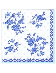 Servilletas de papel decoradas estampado azul 33 x 33 cm