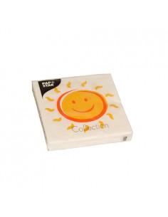 20 Servilletas 25 x 25 cm Blanca Impresión Sol
