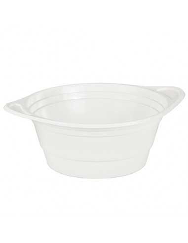 100 Boles Sopa Plástico PS Blanco Con Asas Ø 15, 6 x 6,5 cm 750ml