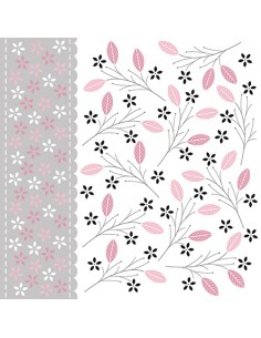 Servilletas de papel decoradas rosa gris 33 x 33 cm Romantic