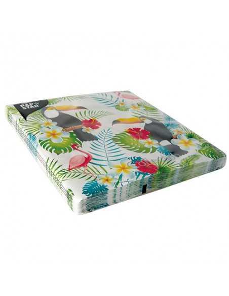 Servilletas de papel decoradas Tucan colores 40 x 40 cm