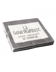Servilletas papel gris impresas texto La Gourmandise 33 x 33 cm