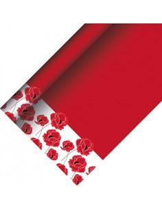Mantel papel decorado fiestas amapolas color rojo 5 x 1,20 m