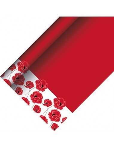 Mantel papel lacado decorado amapolas color rojo 5 x 1,20 m