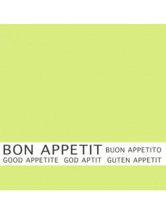 Servilletas papel verde lima impresa Bon Appetit 33 x 33 cm