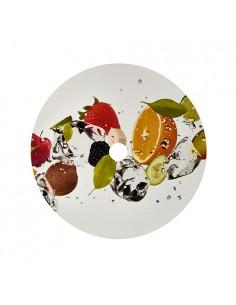 Cubre vasos de cartón decorado Fruitas con agujero Ø10 cm