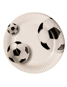 10 Platos Cartón Decorado Pelota Futbol Ø 23 cm