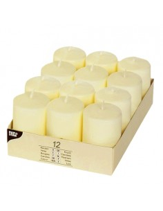 12 Velas de Taco Color Marfil Ivory Ø 40 x 60 mm