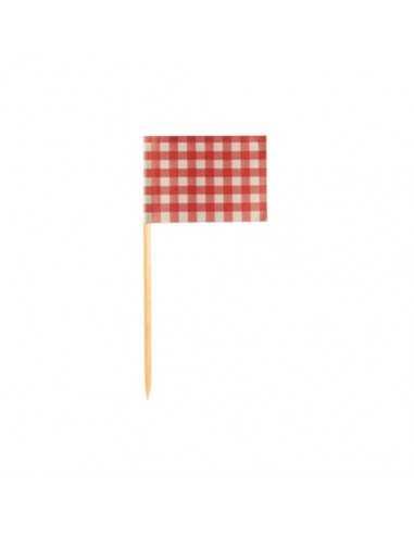 Palillos bandera papel cuadros vichy rojo/blanco 8 cm