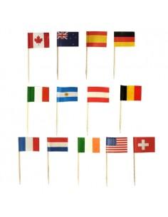 Palillos madera banderas surtidas decorativos 8cm