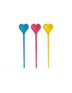 Palillos de plástico decorativos corazones de colores 8,5 cm