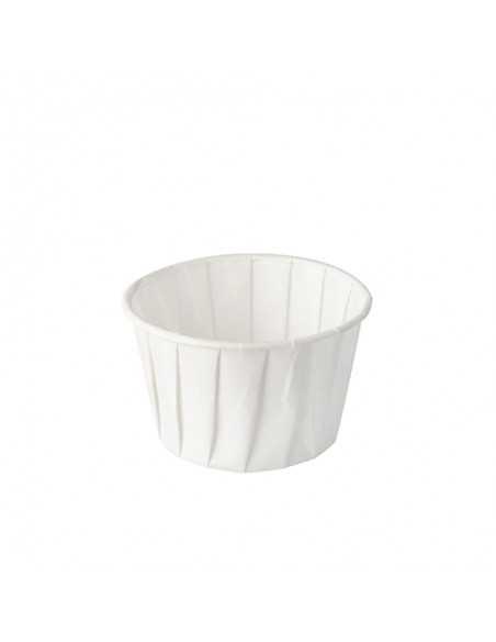 Salseras de papel desechables y compostables color blanco 90ml Pure