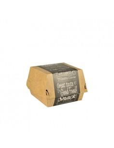 8 Cajas Hamburguesa Pequeña Cartón de Fibra Fresca Pure 7 x 9 x 9 cm Good Food