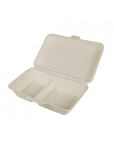 Envases Tapa Bisagra Caña de Azúcar 2 compartimentos 24 x 15,5 x 6,5 cm