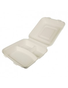 Envases menús para llevar compostables caña azúcar 3 compartimentos