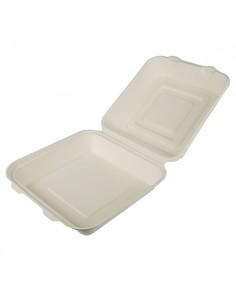Envases comida para llevar con tapa compostables caña azúcar