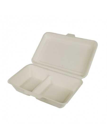 Envases comida compostables con tapa caña de azúcar 2 compartimentos Pure