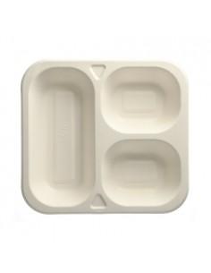 Bandejas menú termosellables caña azúcar 3 comp. 1350ml Pure