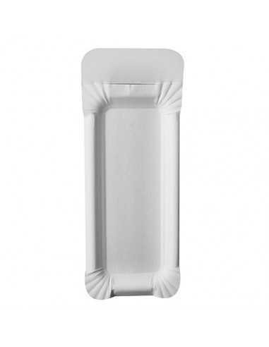Bandejas de cartón blanco con asa compostables 21 x 8 cm